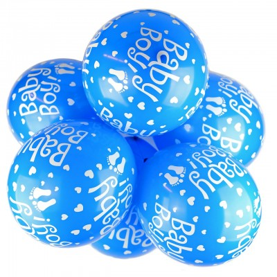 Baby Boy Printed Latex Balloons - 10 Pack