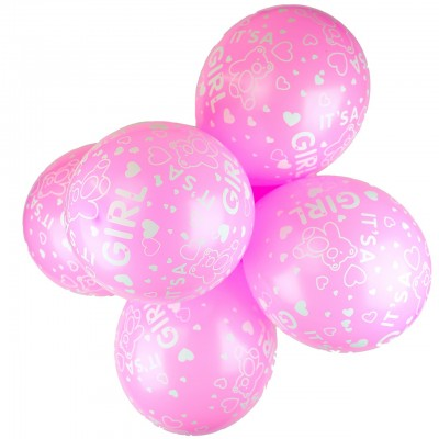 It's a Girl Printed Latex Balloons - 10 Pack