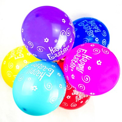 Happy Easter Printed Latex Balloons - 10 Pack